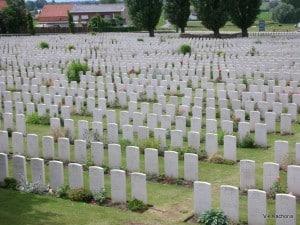 Headstones in Ypres, Belgium