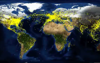 Representation of global air traffic over a 24 hour period