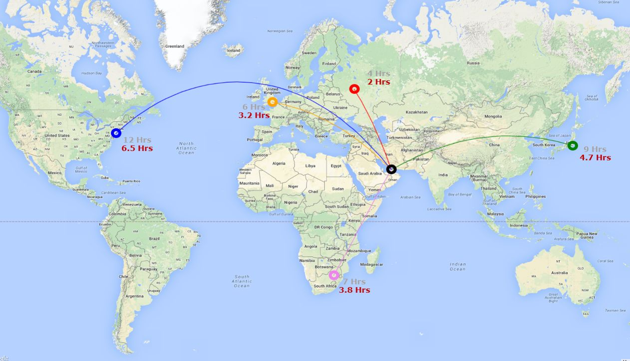 Dubai to the World - Spike S-512 Range Map