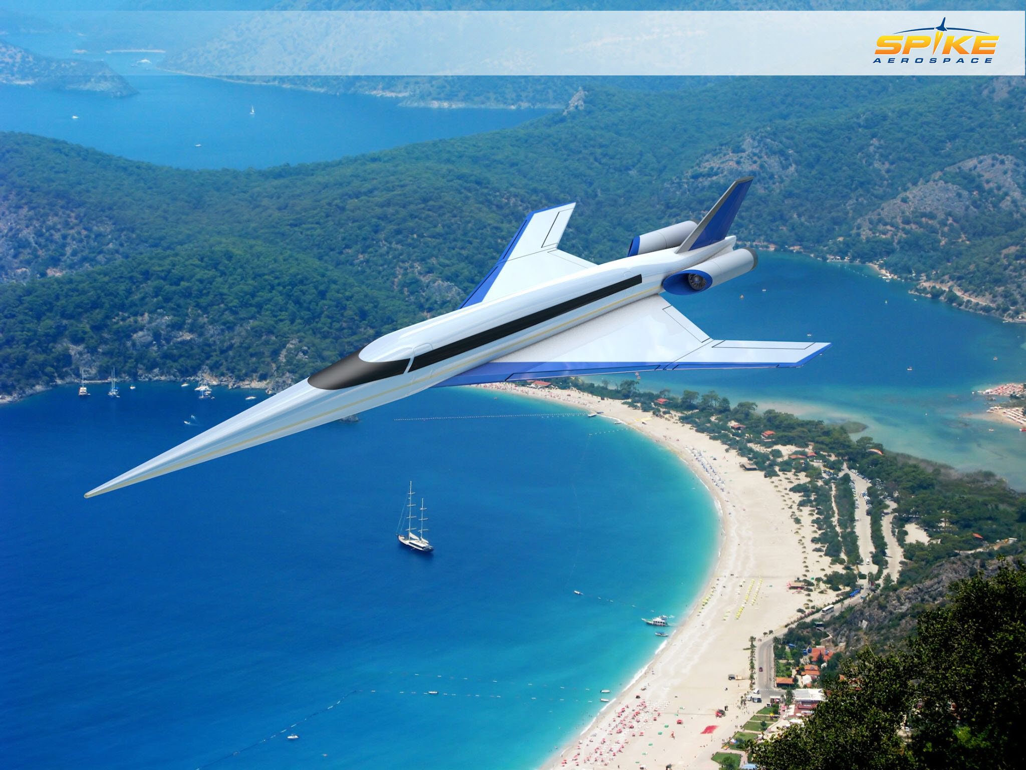 Spike S-512 Quiet Supersonic Jet flies over a serene beach