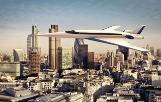 The Spike S-512 Quiet Supersonic Jet over the City of London