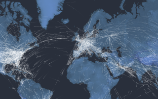 Representative image showing volume of flights per day worldwide